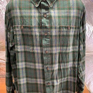 Duluth Trading Company Green Plaid Flannel Shirt